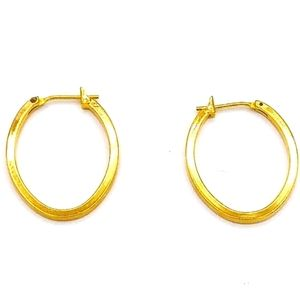 Monet Signature Stamped Gold Plated Hoop Earrings